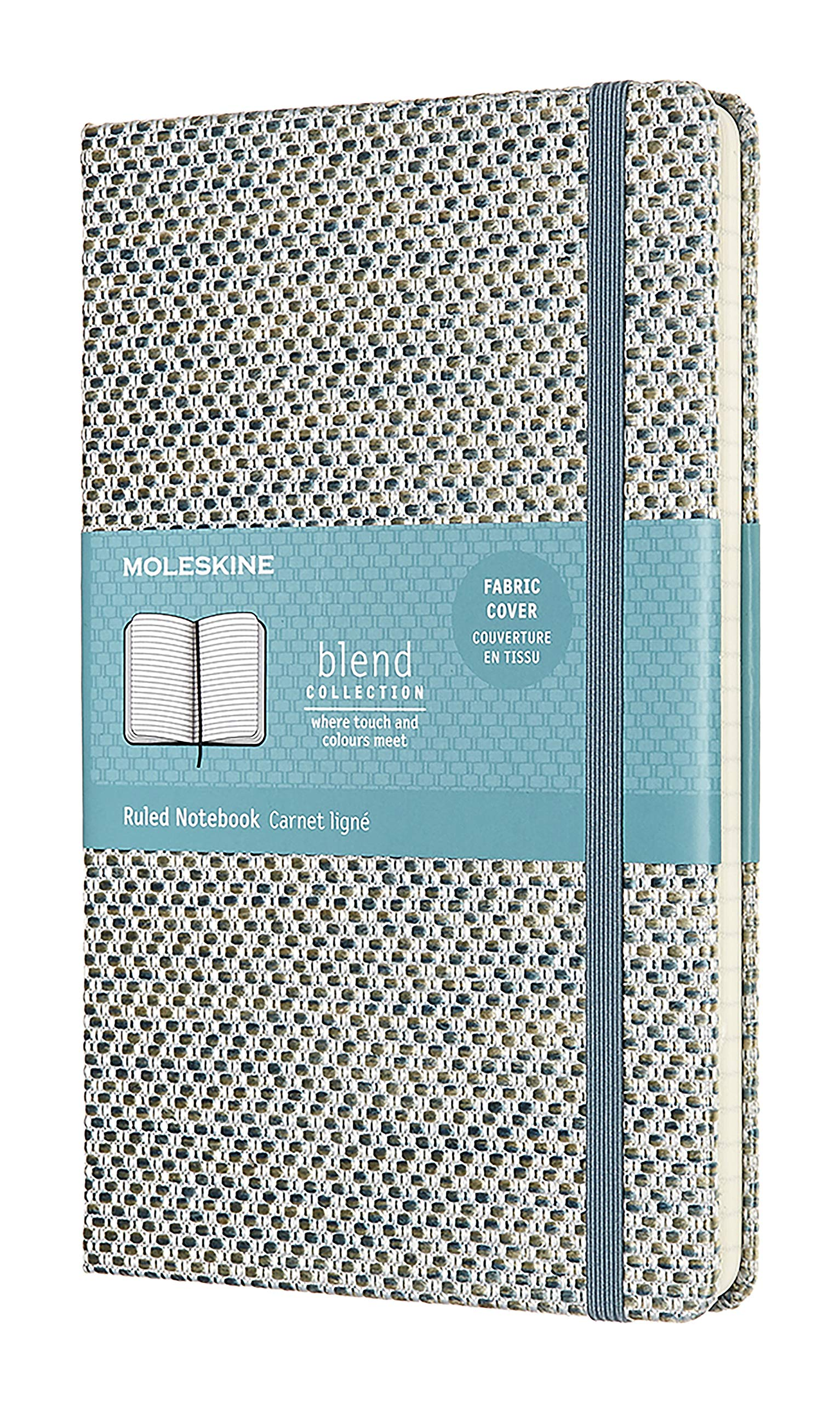 Moleskine Limited Collection Blend Textile Notebook, Hard Cover, Large (5'' x 8.25'') Ruled/Lined, Blue