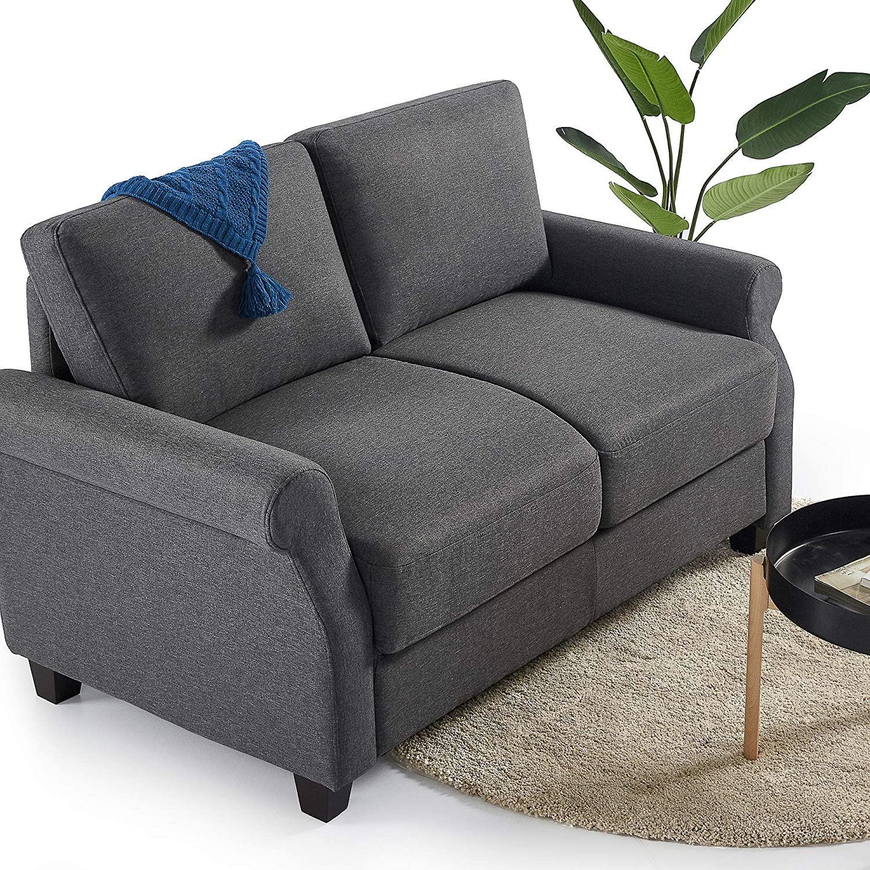 ZINUS Josh Loveseat Sofa / Easy, Tool-Free Assembly, Dark Grey