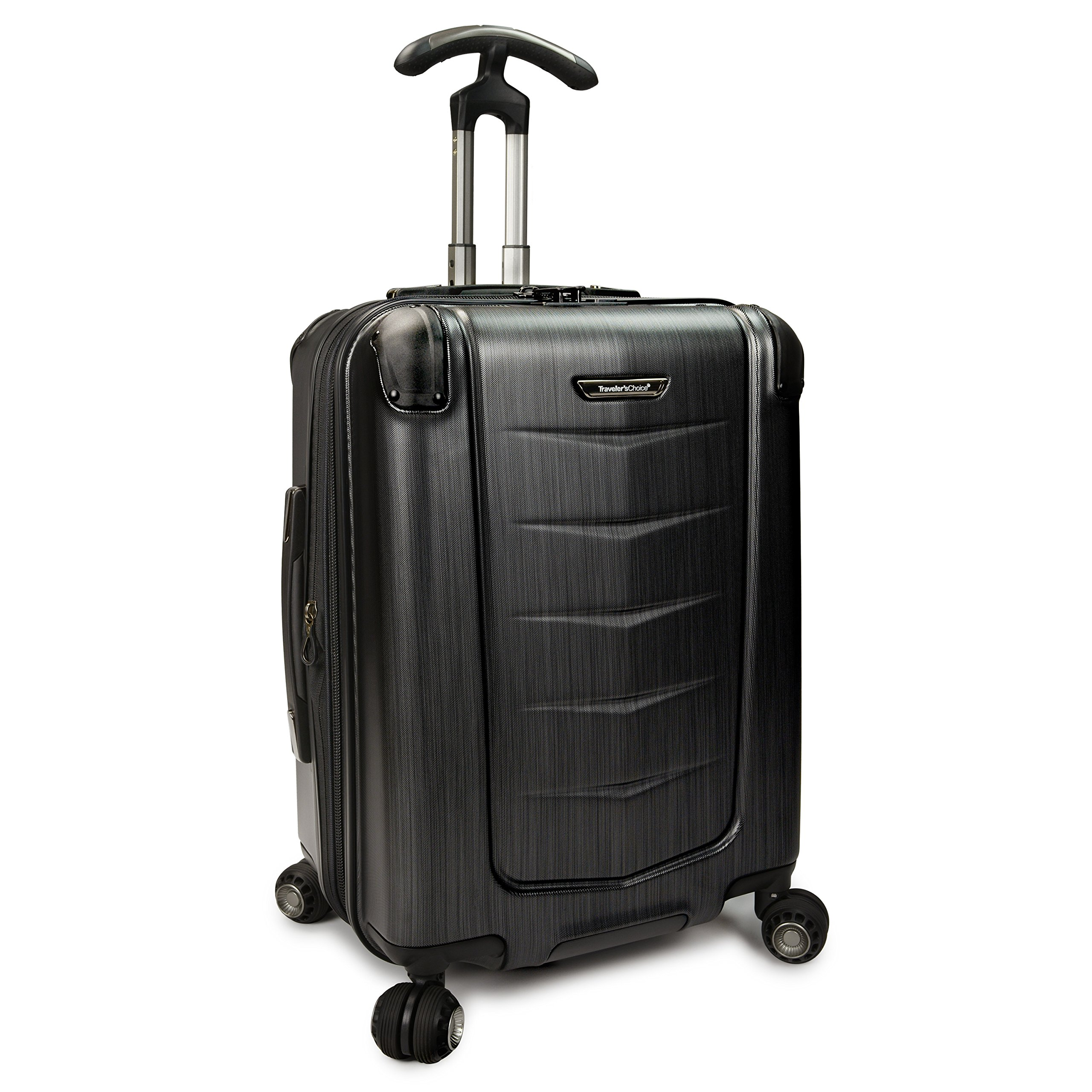 Traveler's Choice Silverwood Polycarbonate Hardside Expandable Spinner Luggage Case - Brush Metal  (21-Inch)