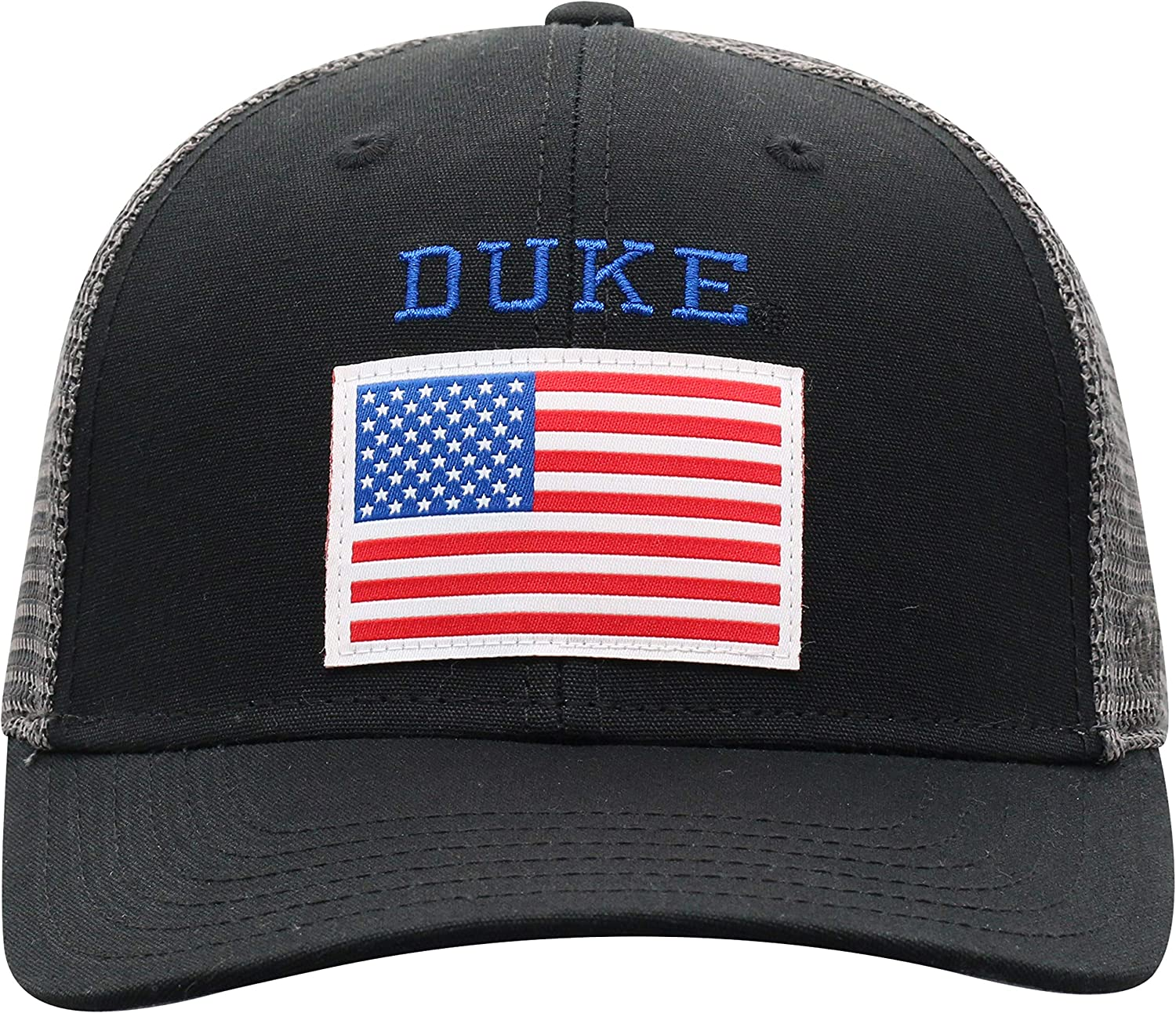 Campus Hats Duke University Blue Devils Black Back The American Flag Top Mens//Womens Mesh Trucker Baseball Adjustable Hat//Cap