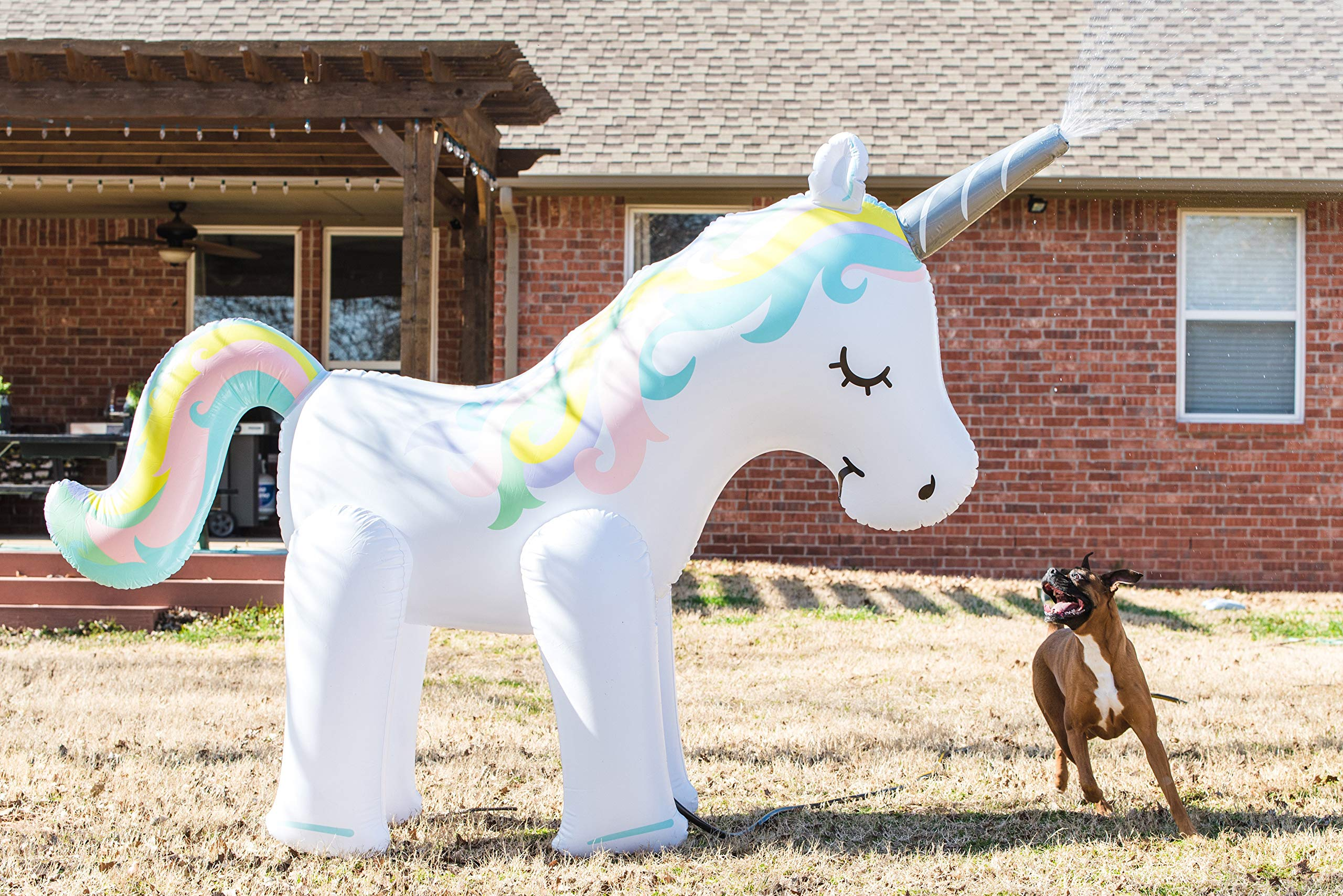 Zoostliss Unicorn Sprinkler Inflatable Water Spray Toys Giant Yard Backyard Lawn Unicorn Sprinkler Kids Outdoor Party… 5