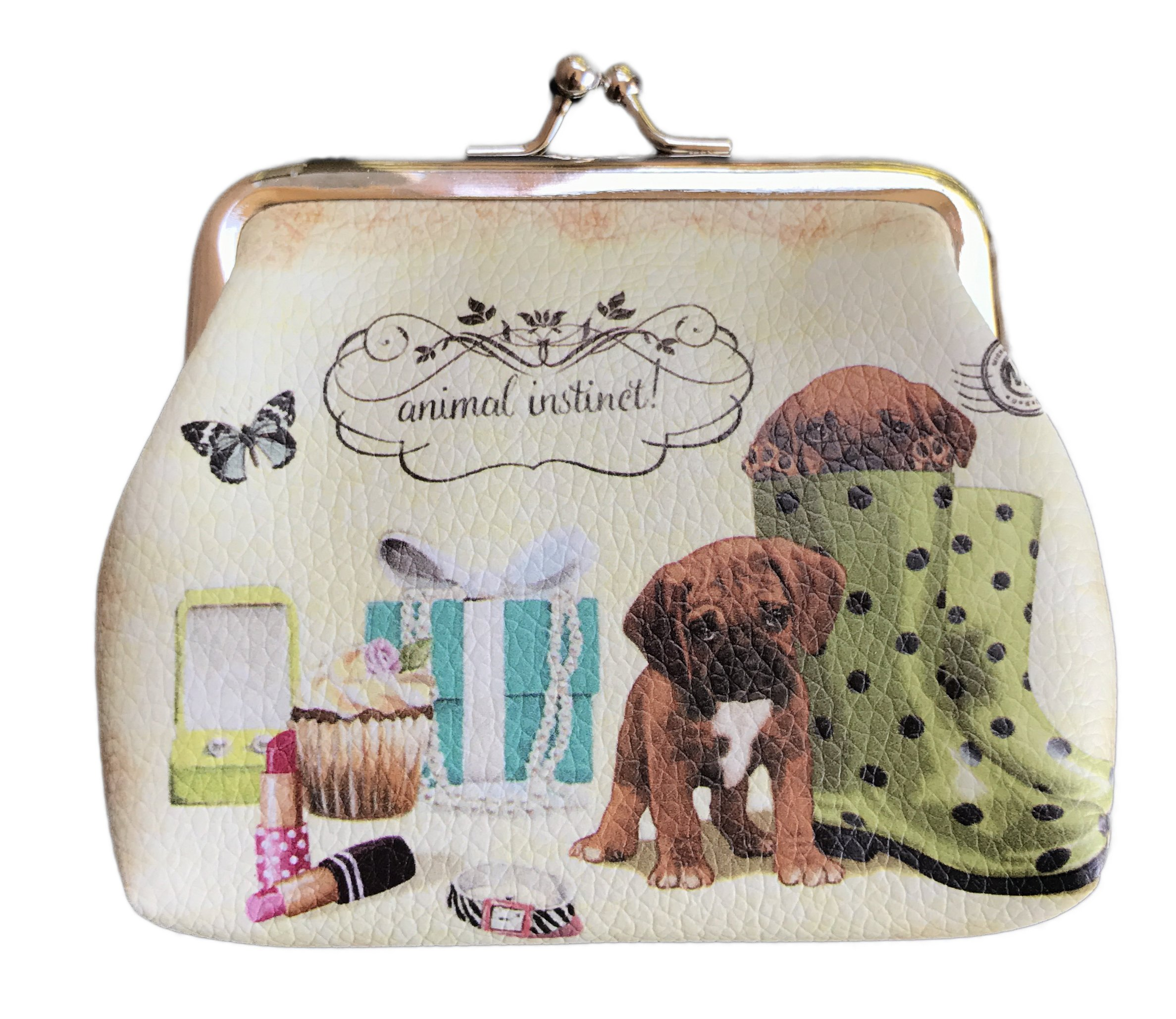 Small Travel Themed Coin Purse 3.5'' x 4'' (Rain Boot Puppy)