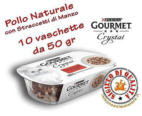 Gourmet Crystal Gato 100% natural pollo natural con straccetti de Manzo 10 x 50 gr