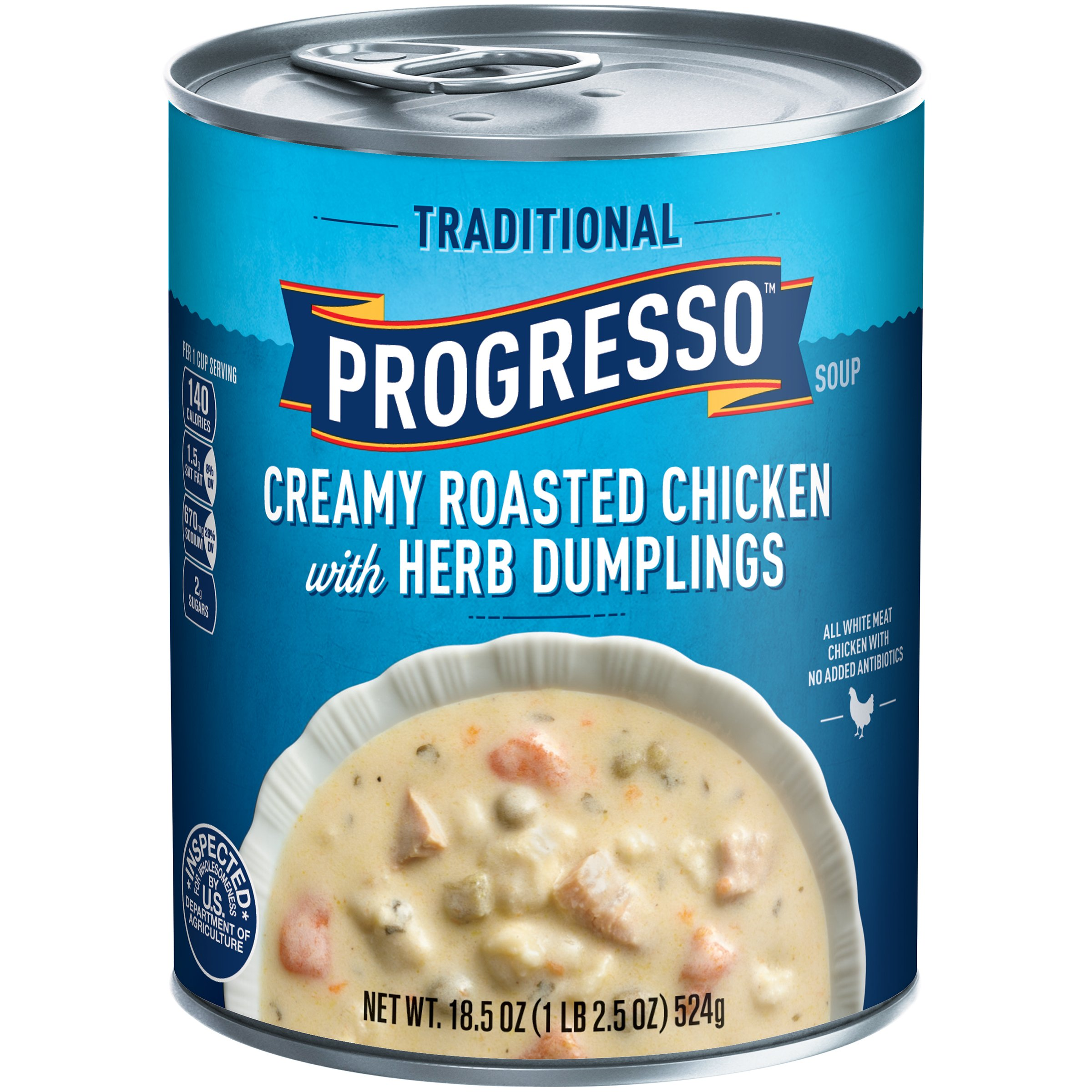 Progresso Soup, Traditional, Creamy Roasted Chicken with Herb Dumpling Soup, 18.5 oz Cans (Pack of 12)