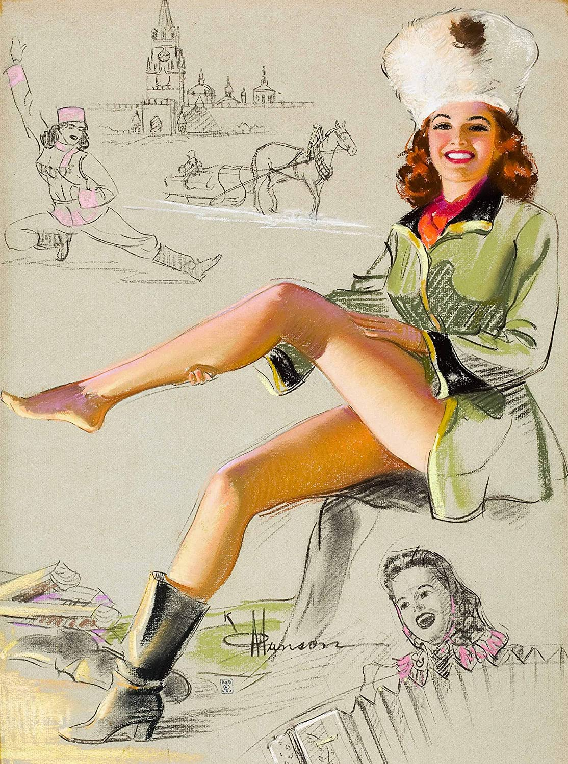 A SLICE IN TIME 1940's Pin-Up Girl Russia Vintage Pin Up Russian USSR Soviet Union Travel Home Collectible Wall Decor Art Poster Picture Print. 10 x 13.5 inches