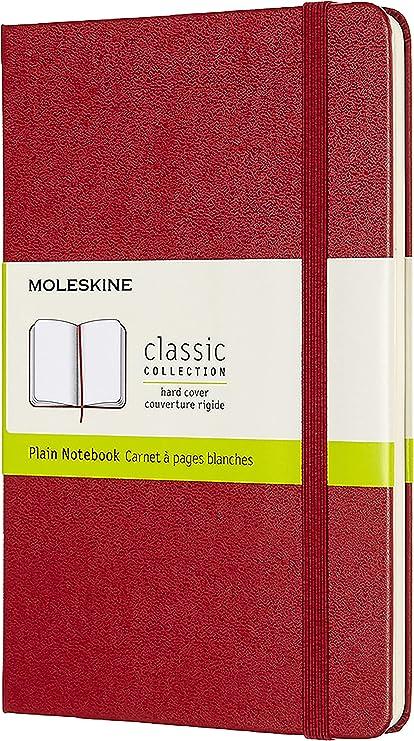 Oferta amazon: Moleskine - Cuaderno Clásico con Páginas Lisas, Tapa Dura y Goma Elástica, Tamaño Medio 11.5 x 18 cm, 208 Páginas, Color Rojo Escarlata