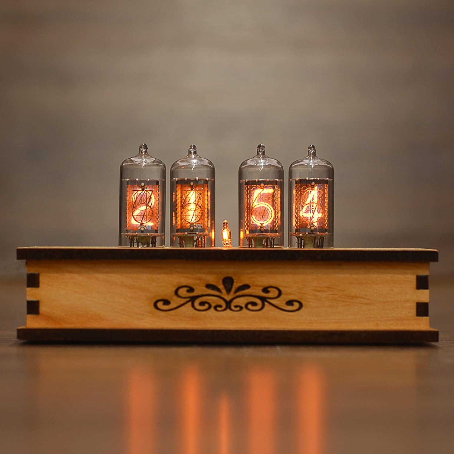 Nixie Tube Clock 4x Z573m Nixie Tubes from Germany Vintage Retro Desk Table Clock Fully Assembled and Tested Wooden Alder Case