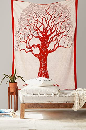 Pure Comfort India 120TC Tree of life Tapestry Wall hanging, Hippie Tapestry, Hippy Mandala Bohemian Tapestries, Wall Hanging Ethnic Decorative Tapestry- Red