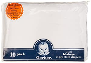 Gerber Birdseye 3-Ply Prefold Cloth Diapers
