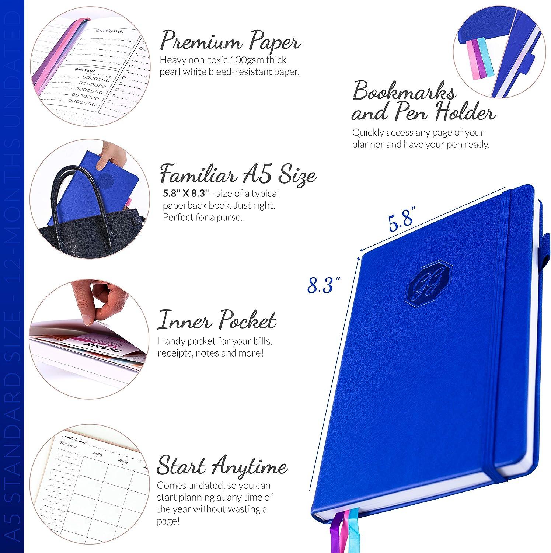 GoGirl Planner Azul Oscuro Undated 13.5 x 19.5cm Compact Sin Fechas Goal Planner /& Organizer for Women