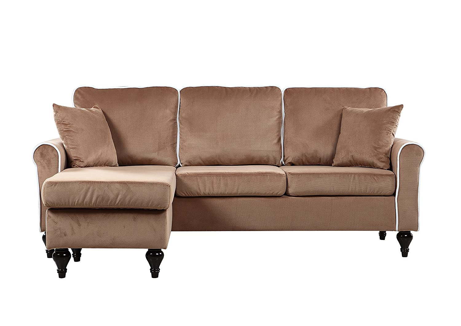 Nice Amazon.com: Classic And Traditional Small Space Velvet Sectional Sofa With  Reversible Chaise (Champagne): Kitchen U0026 Dining