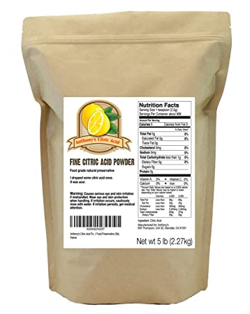 Citric Acid Powder (5 Pounds) by Anthony's, Natural Food Preservative, Made  in USA and Belgium