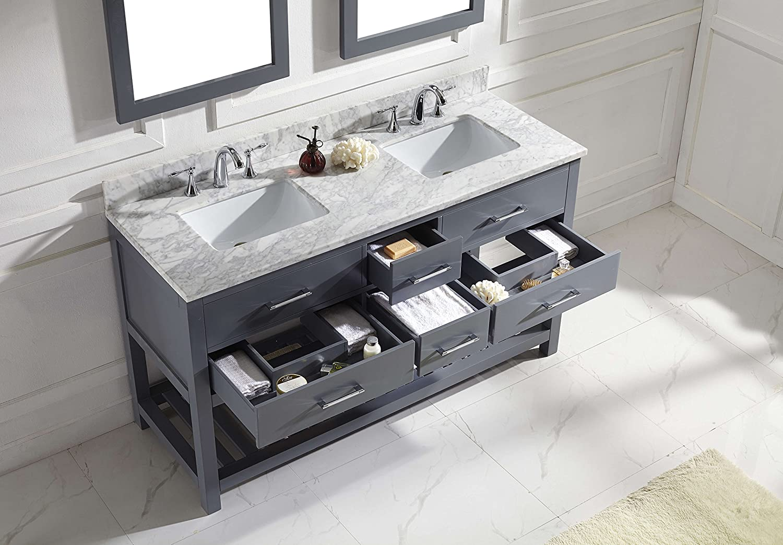 Virtu Md2260wmsqgr Caroline Estate Double Bathroom Vanity Cabinet Set, 60