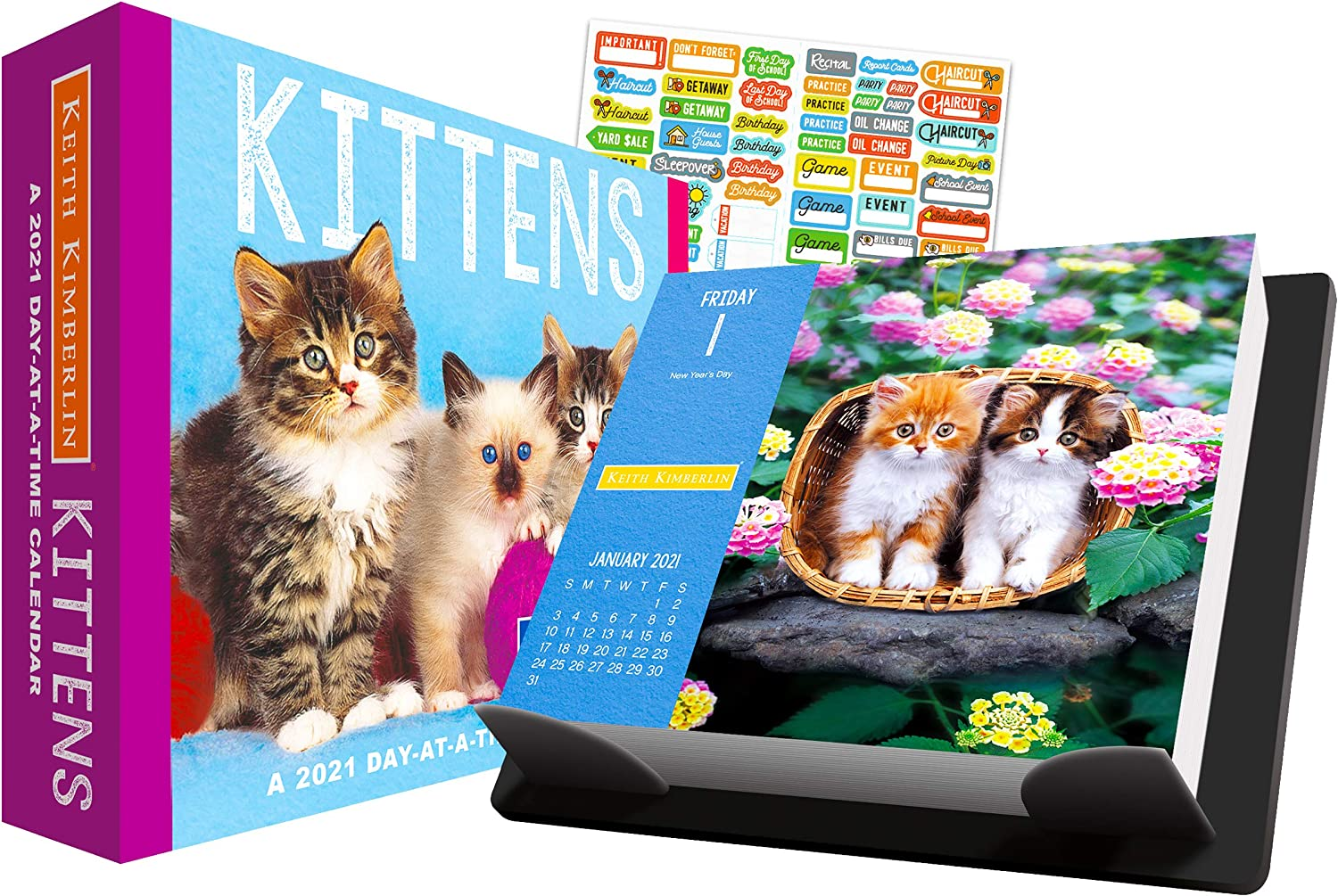 Kittens 2021 Calendar, Box Edition Bundle - Deluxe 2021 Keith Kimberlin Kittens Day-at-a-Time Box Calendar with Over 100 Calendar Stickers (Kittens Gifts, Office Supplies)