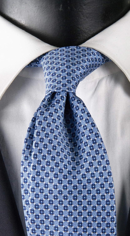 Corbata de hombre con impresión blanca con micro fantasía azul y blanco Exclusive Texture: Amazon.es: Ropa y accesorios