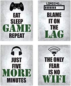Video Game Themed Gamer Wall Art Posters Home Decor Black, White and Dark Military Army Green Gaming Bedroom Pictures Prints Decorations for Teen Dorm College Playrooom Gameroom Boys Girls Children