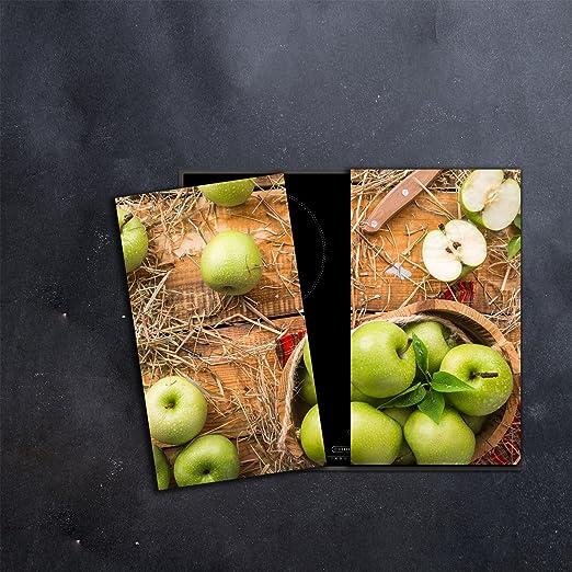 Herdabdeckplatten Set 2x30x52 cm Ceranfeld Abdeckung Glas Spritzschutz Küche