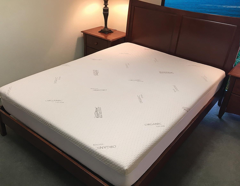 Protector de colchón de espuma con efecto memoria, algodón orgánico con ecológica greenshield Resistencia al agua kool-flow - Tejido elástico transpirable ...
