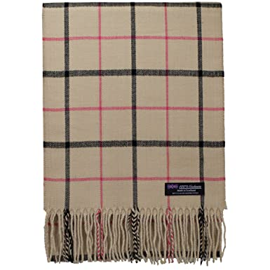 321054a2a 2PLY 100% Cashmere Scarf Elegant Collection Made in Scotland Wool Nova  Tartan Plaid (Beige Brown Pink Black) at Amazon Men's Clothing store: