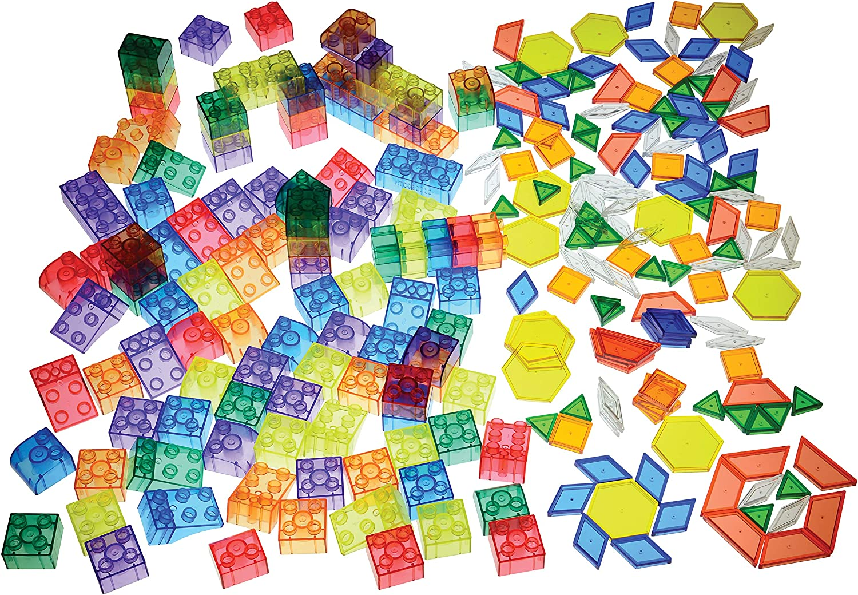 Constructive Playthings Light Table Accessory Satz mit Building Blocks und Geometric Shapes, 283 Pieces