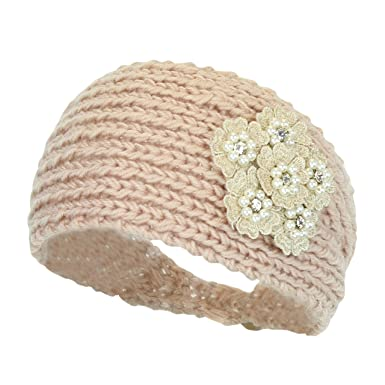 Blush Winter Pearls   Flower Ear Warmer Headband e9e46f09dad5