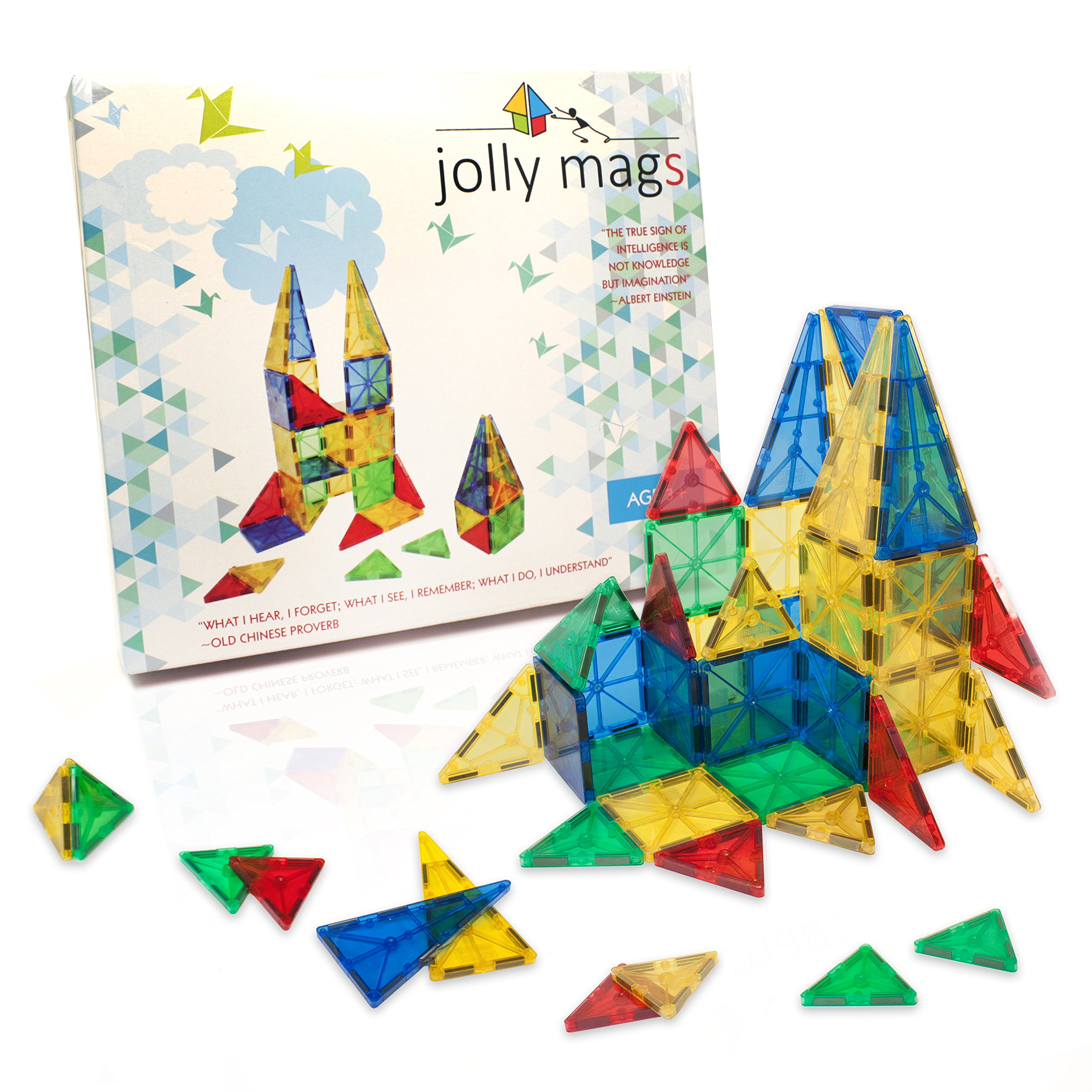 SAFETY CERTIFIED - Magnetic Tiles Jolly Mags Set - 3D Building Blocks Toy with Magnets for Kids - Best for Stacking - Clear Color 32 Pcs Set