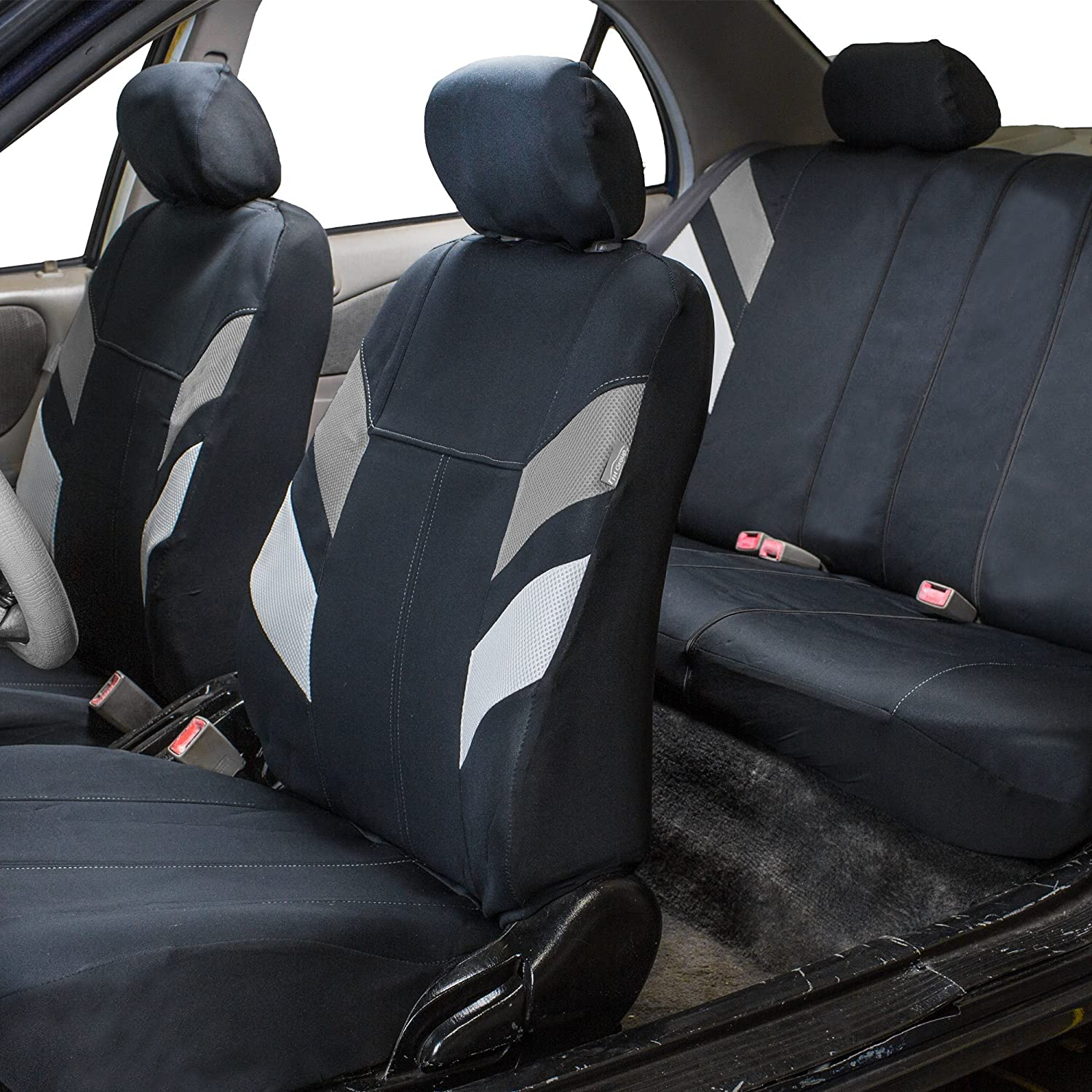 Amazon FH GROUP FB086115 Modern Edge Neoprene Seat Covers Airbag Split Ready Gray Black Color Automotive