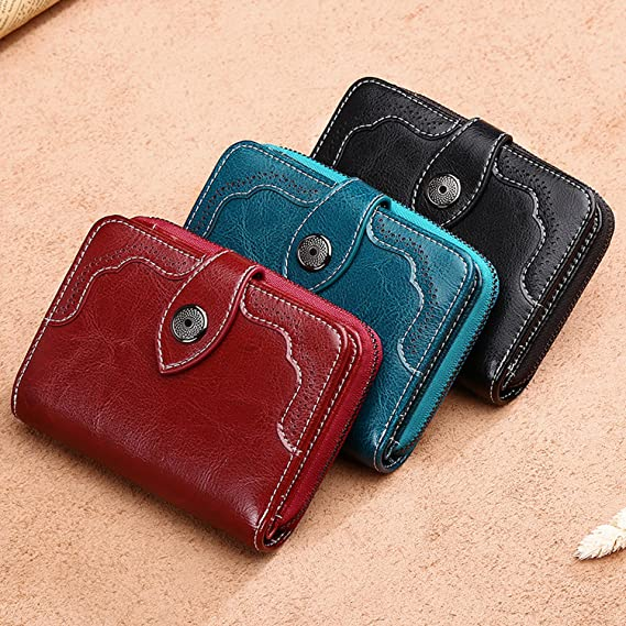 Hollow Out Wallet Short Wallet Leather Vintage Womens Purse Zipper&Button Purse Red Small Wallet Coin Pocket at Amazon Mens Clothing store: