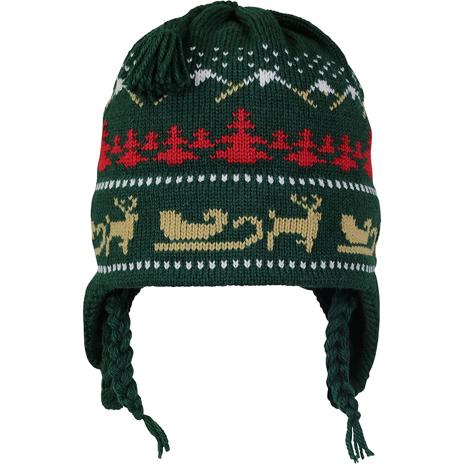 Vermont Originals - Christmas Sled, American Made Wool Winter Hat, Dark Green