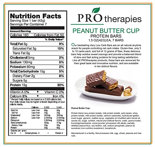Amazon.com: ProTherapies Protein Bar 15g - Low Carb High-Protein Weight Loss Snack Bar for Healthy Diets, Caramel Crunch, 7 Count: Health & Personal Care