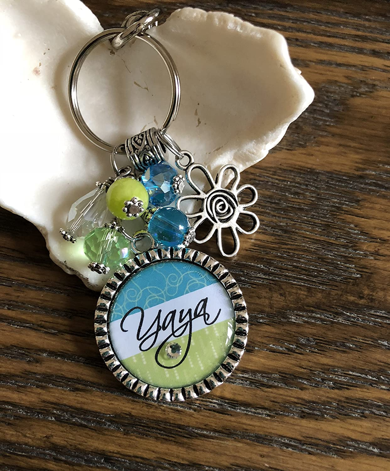 Customizable Yaya keychain silver daisy flower charm Pendant beaded key chain or necklace Happy birthday gift Personalized necklace YOUR NAME HERE 40th Birthday gift