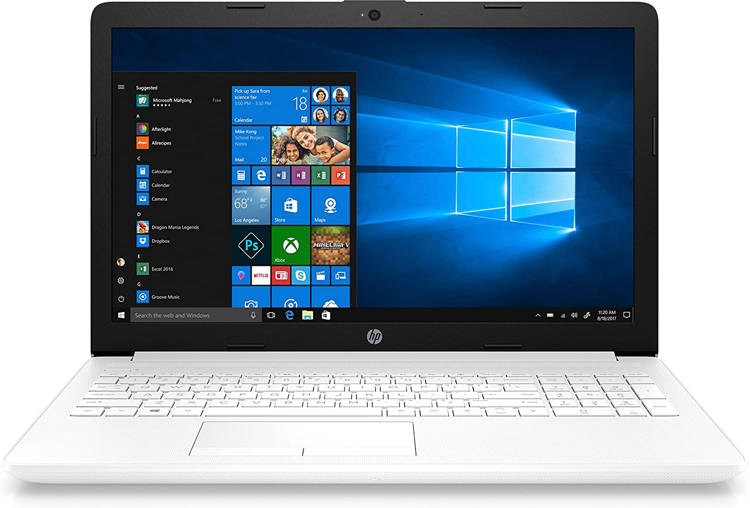 PORTÁTIL HP 15-DA0002NS - Intel N4000 1.1GHZ - 4GB - 500GB - 15.6'/39.6CM - DVD RW - HDMI - WiFi BGN - BT - W10 - Blanco