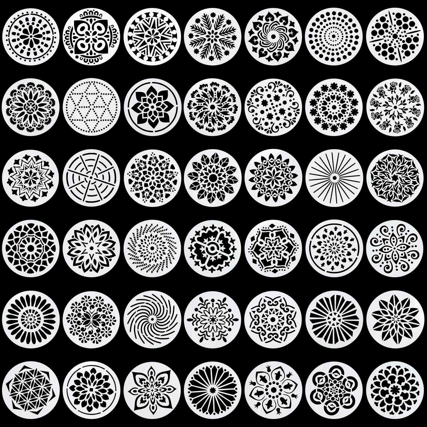 42 Pack Mandala Dot Painting Templates Round Stencils Perfect for DIY Rock Painting Art Projects (4 inch)