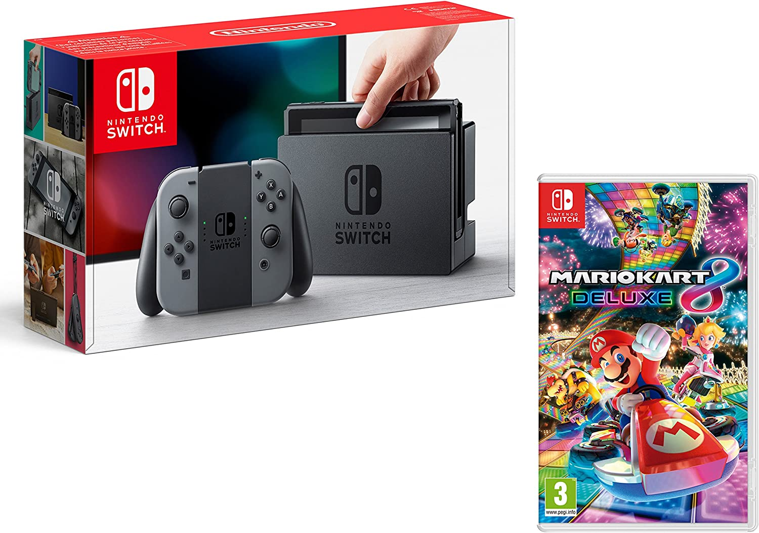 Nintendo Switch Consola 32Gb Gris + Mario Kart 8 Deluxe: Amazon.es ...