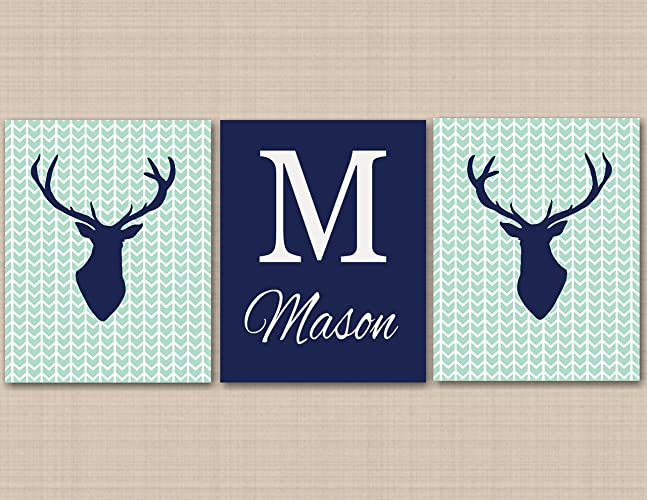 Deer Nursery Décor Deer Nursery Wall Art Navy Mint Gray Deer Woodland Nursery Wall Art Deer & Amazon.com: Deer Nursery Décor Deer Nursery Wall Art Navy Mint Gray ...