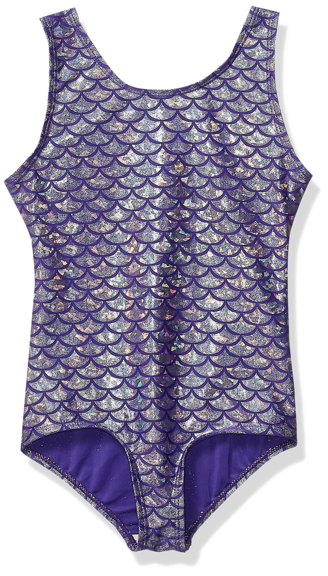 Danskin Girls Big Gymnastics Leotard Purplesilver Mermaid 54236 Medium 810