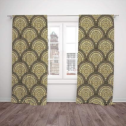 Amazing Polyester Window Drapes Kitchen Curtains Geometric Arabesque Interior Design Ideas Clesiryabchikinfo