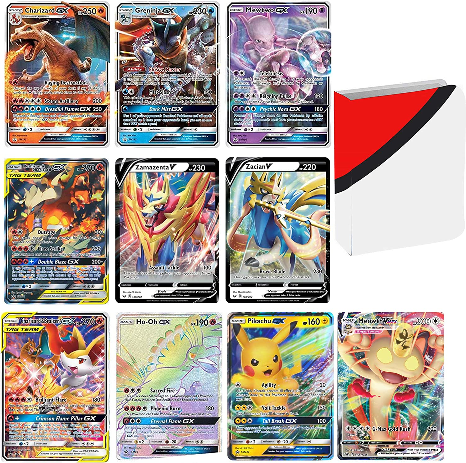 3 GX and 5 EX 10 Jumbo Pokemon Cards in Collectors Chest Tin 1 Full Art Mega 1 Mega EX
