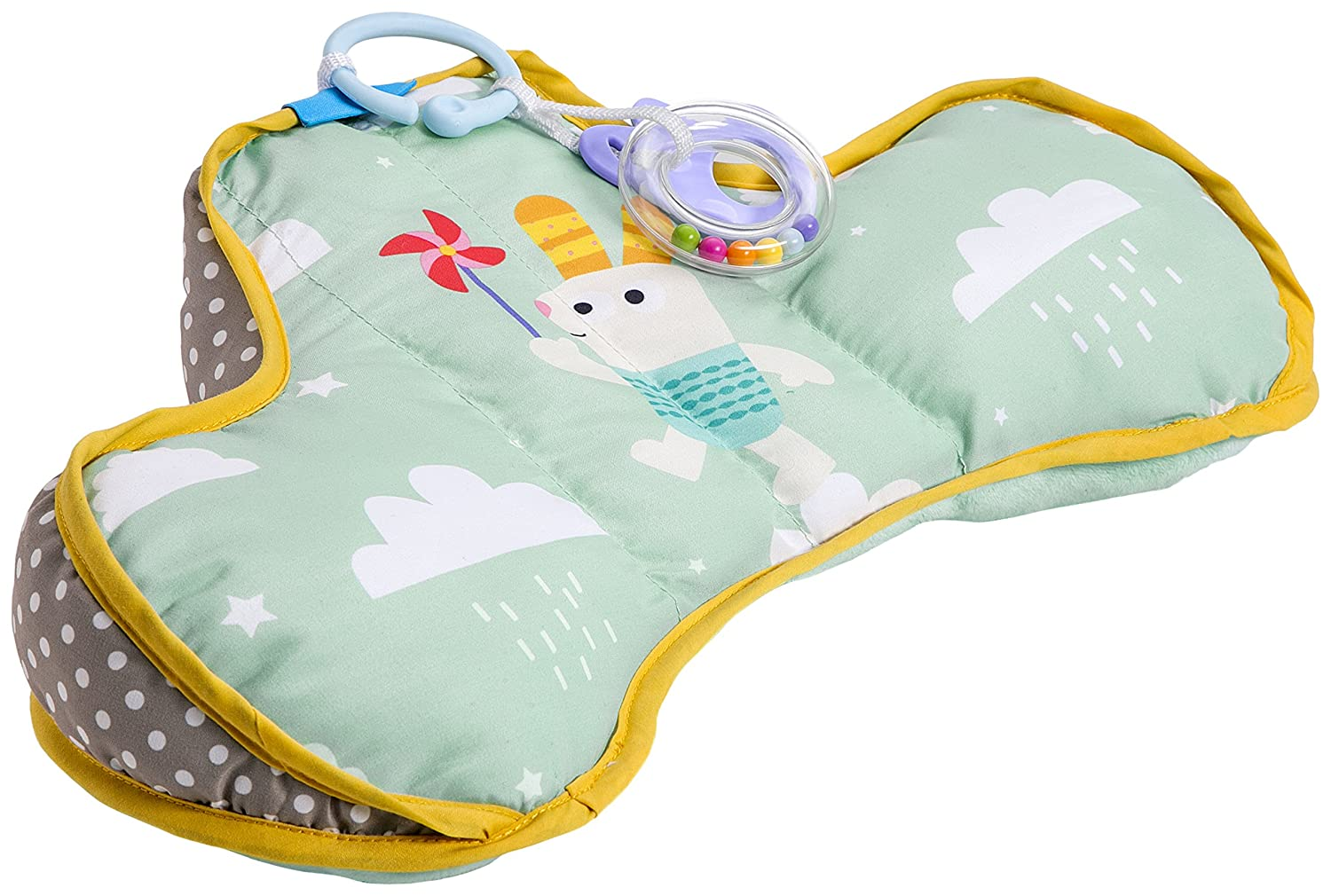 Taf Toys Baby Tummy Time Pillow | Perfect For 2-6 Months Old Babies, Enables Easier Development & Easier Parenting, Natural Developmental, Comfortable Tummy Time, Ergonomic Design, Detachable Toys TAF12045