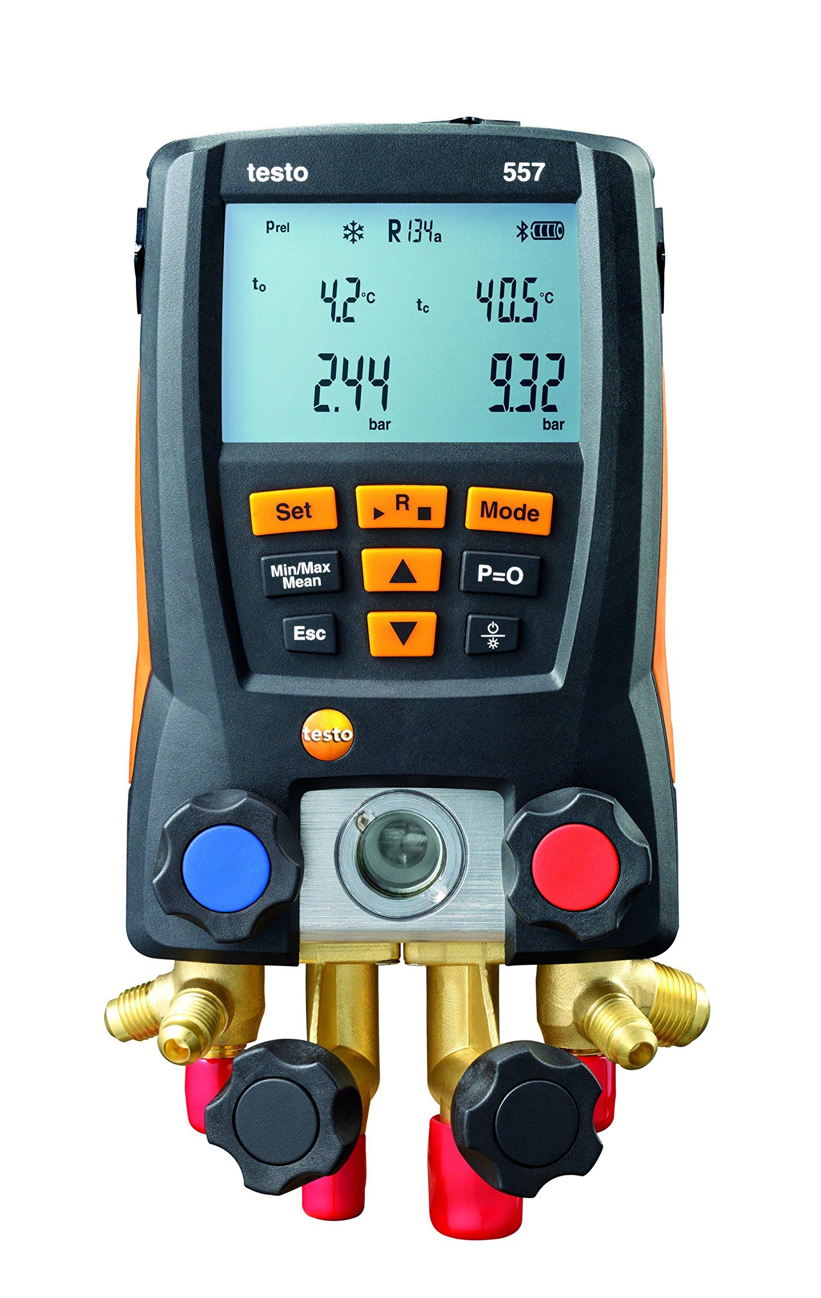 Testo 0563 1557 557 4 Way Valve Digital Manifold Meter Kit with Built in Bluetooth, 3'' Height, 5'' Width, 9'' Length