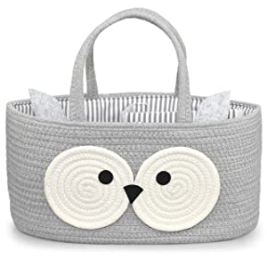 Baby Caddy Diaper Organizer - 100% Cotton Rope Canvas - Cute Owl Design for Changing Table, Portable Toy Storage, Nursery Decor for Boy and Girl