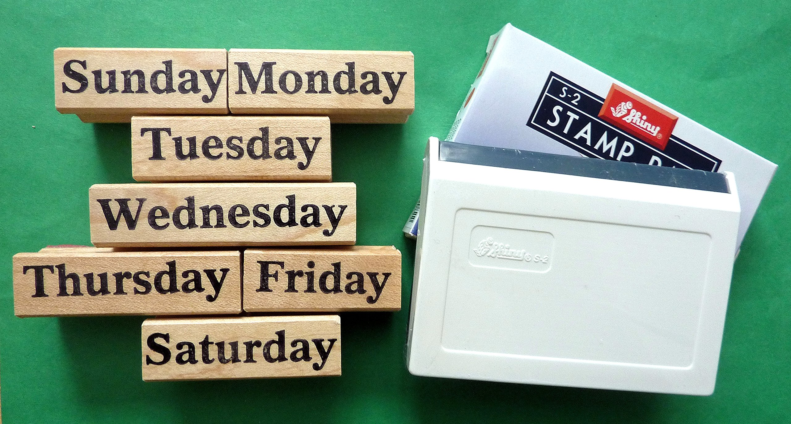 Days of the Week Teacher's Rubber Stamp Set of 7, with Stamp Pad