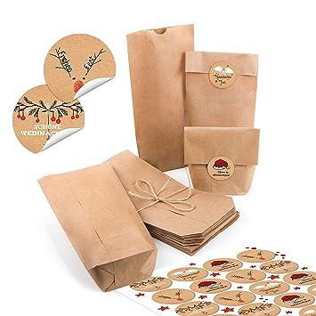 48 pequeñas bolsas de papel natural marrón papel kraft 10,7 ...
