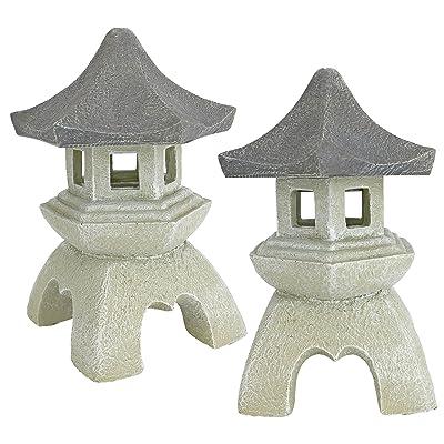 Design Toscano Asian Pagoda Statues Medium - Set of Two : Outdoor Statues : Garden & Outdoor