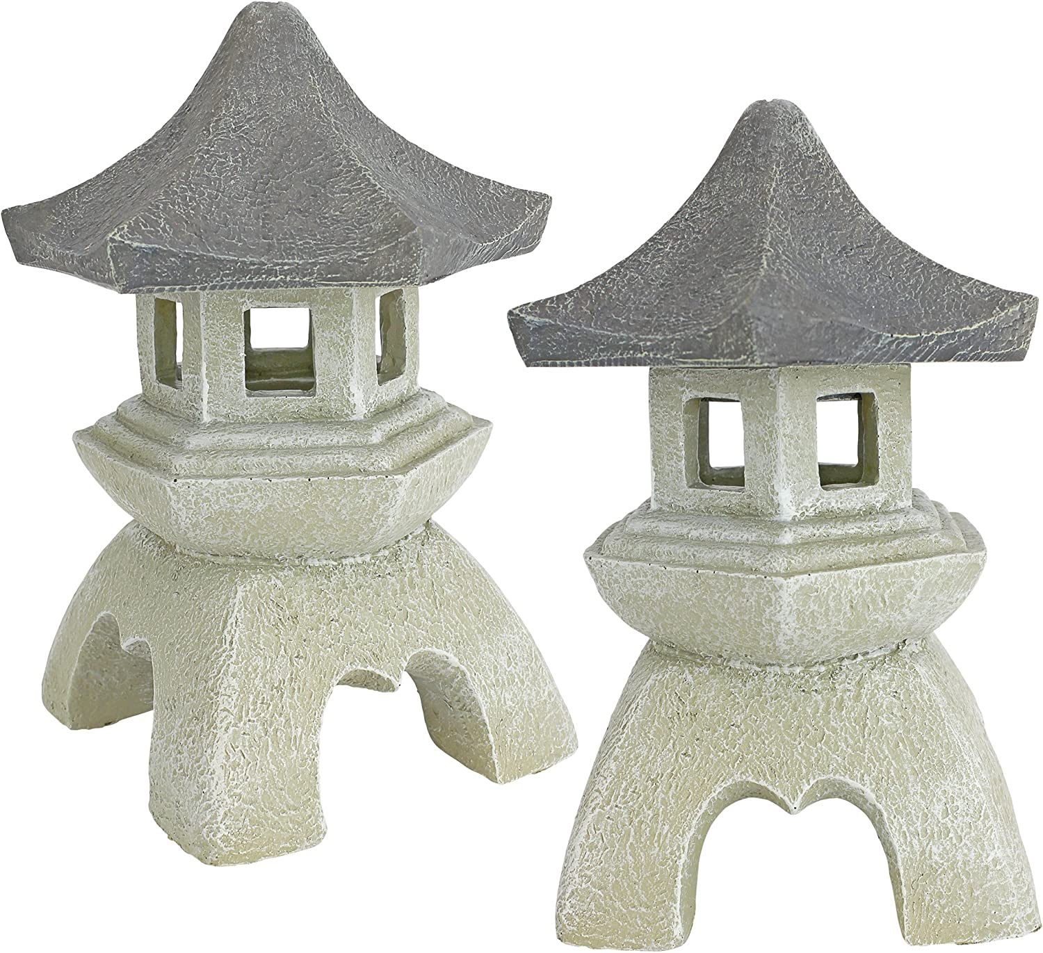Design Toscano NG729869 Asian Pagoda Statues Medium - Set of Two,two tone stone