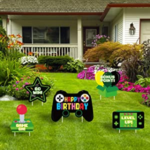 PANTIDE Video Game Happy Birthday Yard Sign Game Controller Colorful Outdoor Lawn Signs with Stakes Gaming Themed Garden Decor for Boys Girls Game On Birthday Party One-Side Print Street Sign (5Packs)