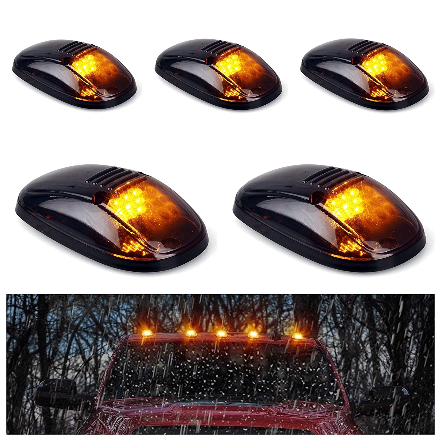 5pcs Amber Lens Amber LED Cab Roof Marker Lights, KOMAS Roof Top Lamp Clearance Running Light Replacement + T10 Set for Truck SUV 1999-2002 Dodge Ram 1500 2500 3500 4500 (Amber Lens& Amber LED) KMS CAB LIGHTS101