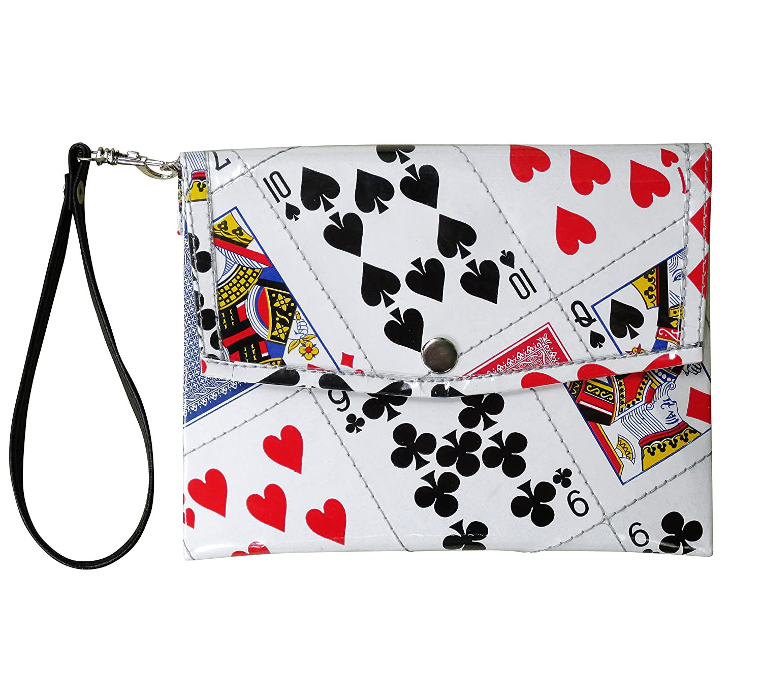 Small snap wristlet using play cards - FREE SHIPPING - upcycled eco friendly vegan recycled reclaimed salvaged handmade unique purse gift purse wallet las vegas playing card poker bridge player