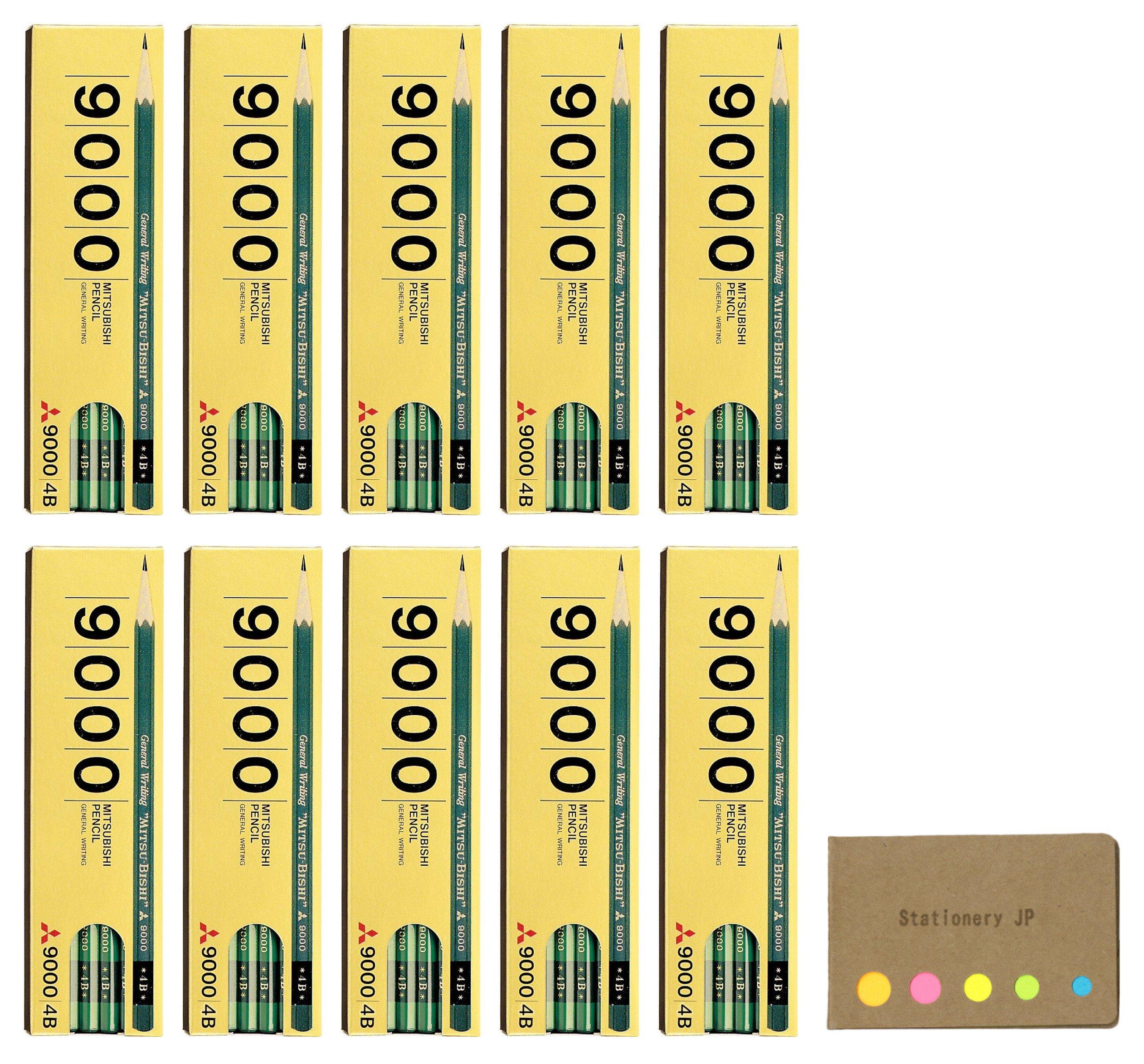 Uni Mitsubishi 9000 Pencil, 4B, 10-pack/total 120 pcs, Sticky Notes Value Set