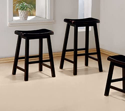 29 H Set of 2 Black Solid Wood Barstools